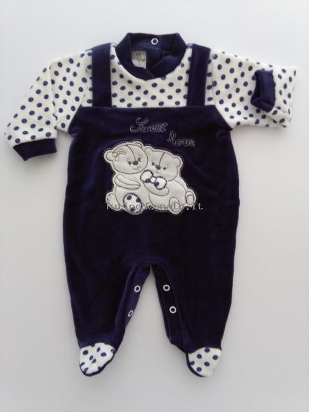 4e181412a61ecf Tutina neonato e neonata in ciniglia Sweet love blu 3-6 mesi