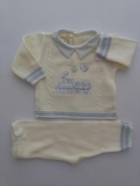 a piedi a outlet in vendita presentando Completino neonato misto lana trenino bianco panna 1-3 mesi