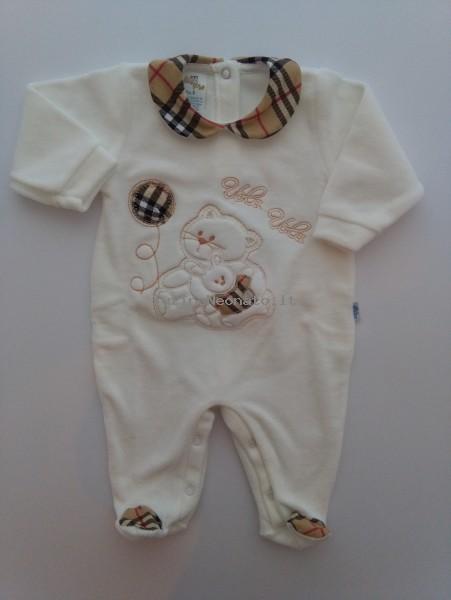 grande sconto per bello design 100% autenticato Tutina neonato e neonata ciniglia Vola vola bianco panna 1-3 mesi