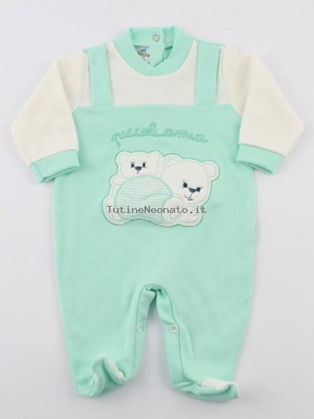 rivenditore all'ingrosso cerca l'autorizzazione accogliente fresco Tutina neonato e neonata cotone interlock Piccoli Amici verde 0-1 mese