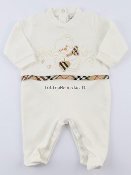 comprare in vendita godere di un prezzo economico informazioni per Tutina neonato e neonata cotone interlock baby bianco panna 1-3 mesi