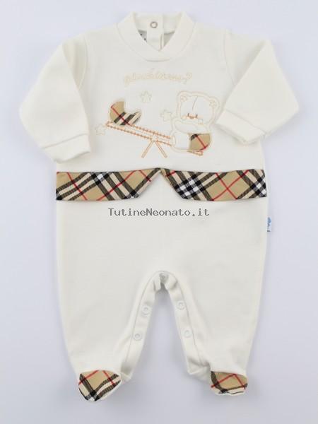 negozi popolari professionale più votato nuove immagini di Tutina neonato e neonata cotone interlock giochiamo bianco panna 1-3 mesi