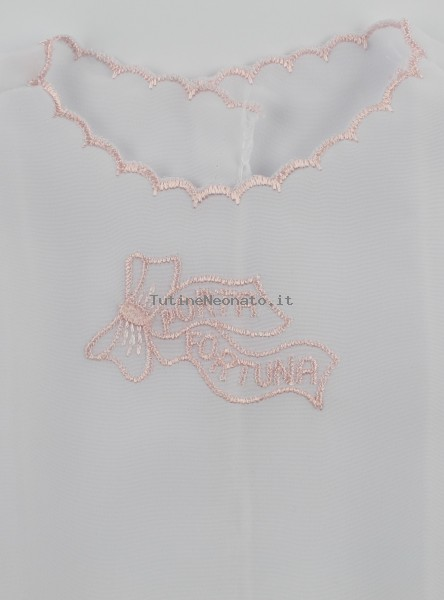 premium selection 3c5c3 f308d Camicina nascita neonata in seta porta fortuna rosa unica