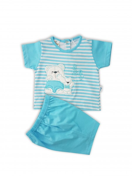 tutina completo cotone jersey orsi baby  Turchese 0-1 mese